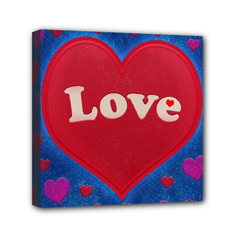 Love Theme Concept  Illustration Motif  Mini Canvas 6  X 6  (framed) by dflcprints