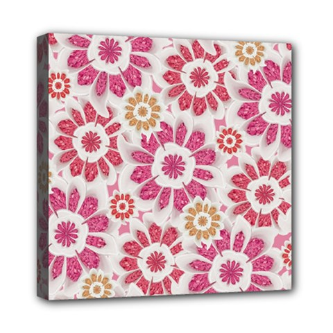 Feminine Flowers Pattern Mini Canvas 8  X 8  (framed)