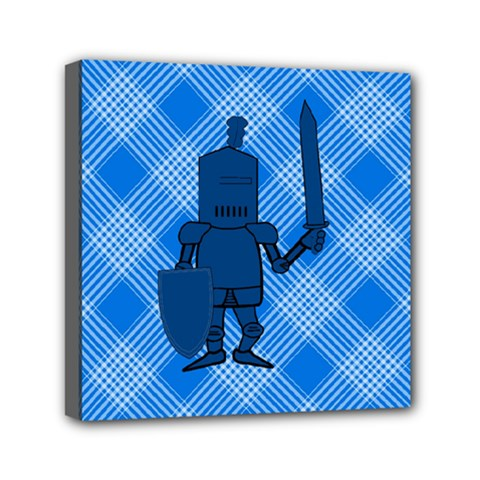 Blue Knight On Plaid Mini Canvas 6  X 6  (framed) by StuffOrSomething