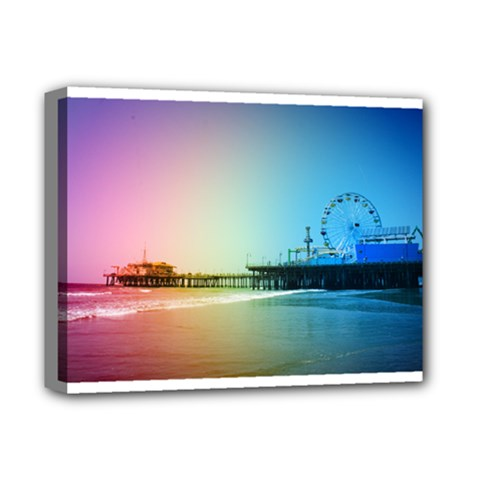 Santa Monica Pier Rainbow Colors Deluxe Canvas 14  x 11  (Framed) by stineshop