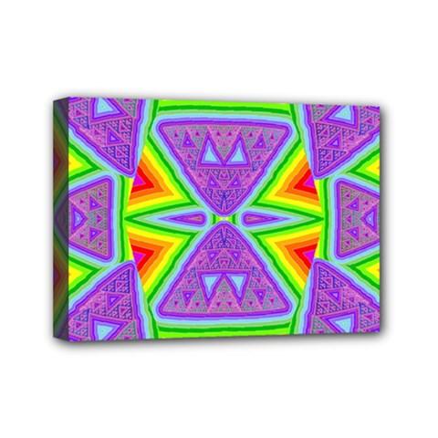 Trippy Rainbow Triangles Mini Canvas 7  X 5  (framed) by SaraThePixelPixie