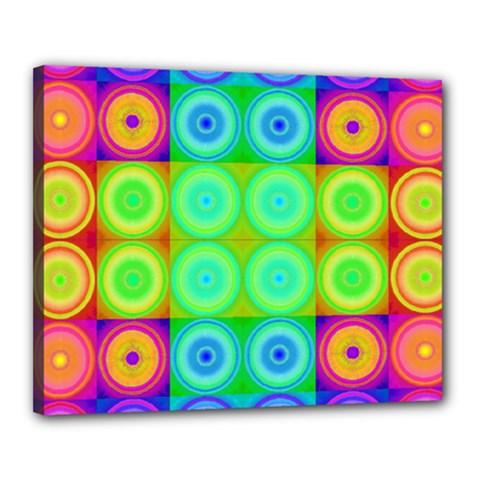 Rainbow Circles Canvas 20  x 16  (Framed) by SaraThePixelPixie