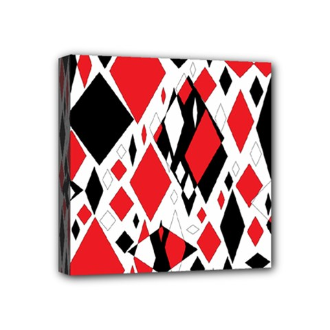 Distorted Diamonds In Black & Red Mini Canvas 4  X 4  (framed) by StuffOrSomething