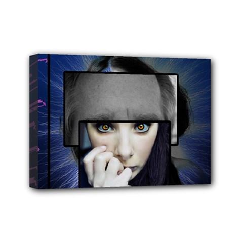 Fibro Brain Mini Canvas 7  X 5  (framed)