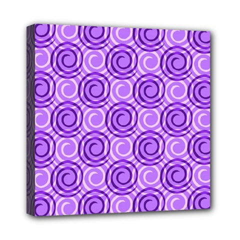 Purple And White Swirls Background Mini Canvas 8  X 8  (framed) by Colorfulart23