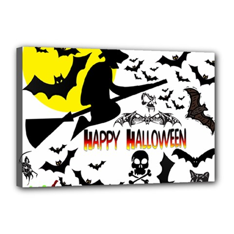 Happy Halloween Collage Canvas 18  X 12  (framed) by StuffOrSomething