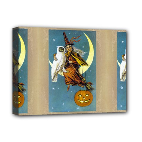 Vintage Halloween Witch Deluxe Canvas 16  x 12  (Framed)  by EndlessVintage