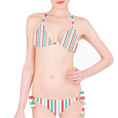 Aqua & Coral Lines Bikini by DigitalArtCreations