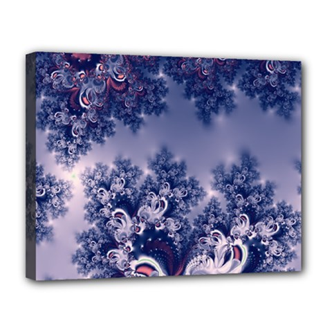 Pink And Blue Morning Frost Fractal Canvas 14  X 11  (framed) by Artist4God