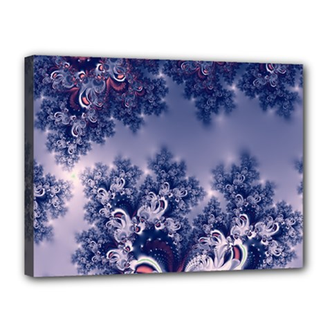 Pink And Blue Morning Frost Fractal Canvas 16  X 12  (framed) by Artist4God
