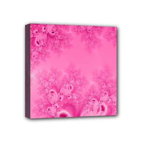 Soft Pink Frost Of Morning Fractal Mini Canvas 4  X 4  (framed) by Artist4God