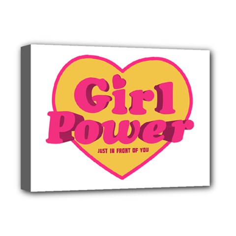 Girl Power Heart Shaped Typographic Design Quote Deluxe Canvas 16  X 12  (framed)  by dflcprints