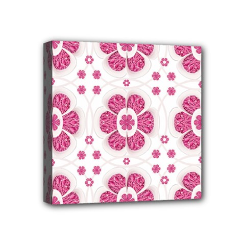 Sweety Pink Floral Pattern Mini Canvas 4  X 4  (framed) by dflcprints