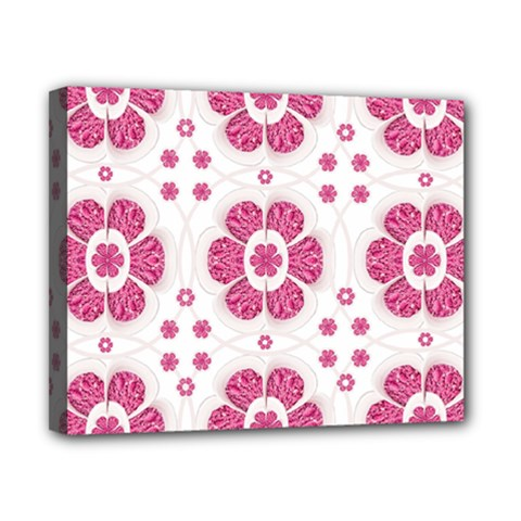 Sweety Pink Floral Pattern Canvas 10  X 8  (framed) by dflcprints