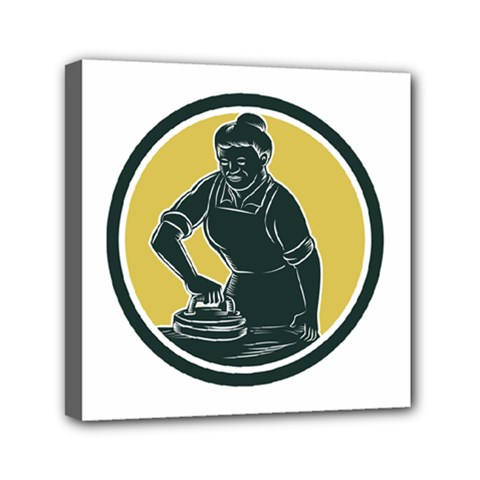 African American Woman Ironing Clothes Woodcut Mini Canvas 6  X 6  (framed) by retrovectors