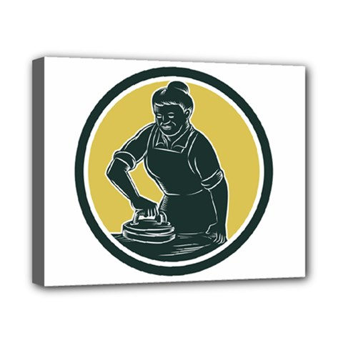 African American Woman Ironing Clothes Woodcut Canvas 10  x 8  (Framed) by retrovectors