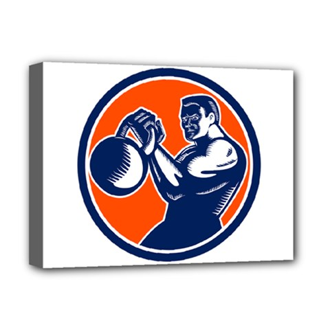 Bodybuilder Lifting Kettlebell Woodcut Deluxe Canvas 16  X 12  (framed)  by retrovectors