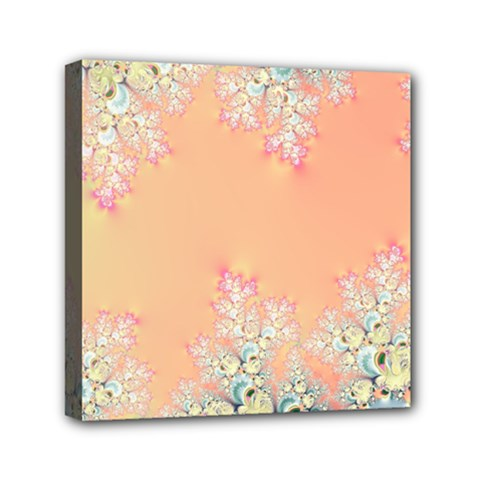 Peach Spring Frost On Flowers Fractal Mini Canvas 6  X 6  (framed) by Artist4God