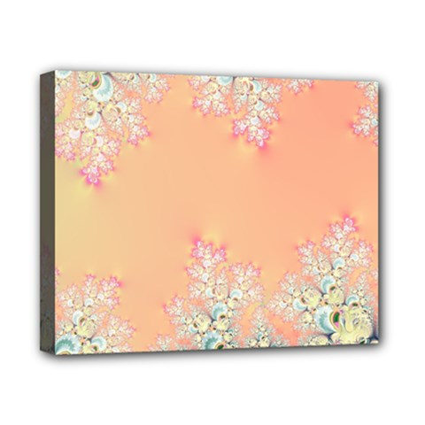 Peach Spring Frost On Flowers Fractal Canvas 10  X 8  (framed) by Artist4God