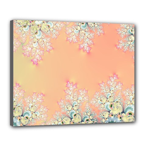Peach Spring Frost On Flowers Fractal Canvas 20  X 16  (framed) by Artist4God