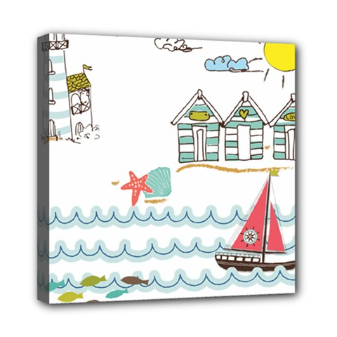 Summer Holiday Mini Canvas 8  X 8  (framed) by whitemagnolia