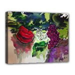 Grapes and Peppers - Canvas 14  x 11  (Stretched)