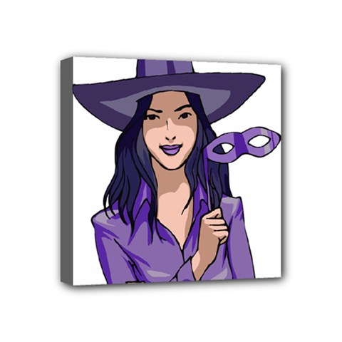 Purple Witch Mini Canvas 4  X 4  (framed) by FunWithFibro