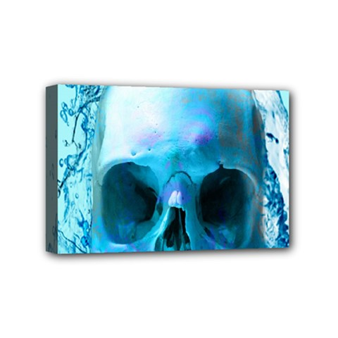 Skull In Water Mini Canvas 6  X 4  (framed) by icarusismartdesigns