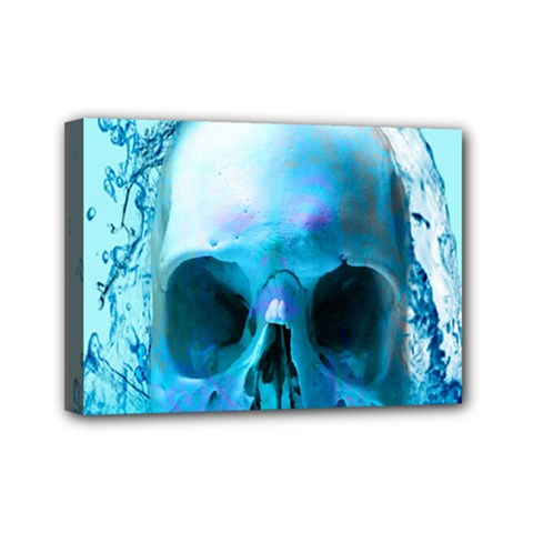 Skull In Water Mini Canvas 7  X 5  (framed) by icarusismartdesigns
