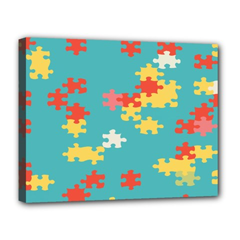 Puzzle Pieces Canvas 14  X 11  (framed) by LalyLauraFLM