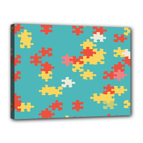 Puzzle Pieces Canvas 16  X 12  (framed) by LalyLauraFLM
