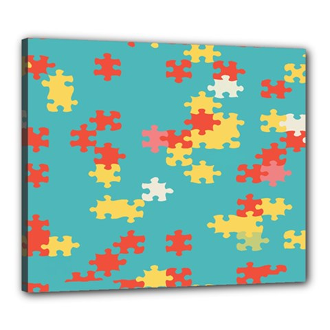 Puzzle Pieces Canvas 24  X 20  (framed) by LalyLauraFLM