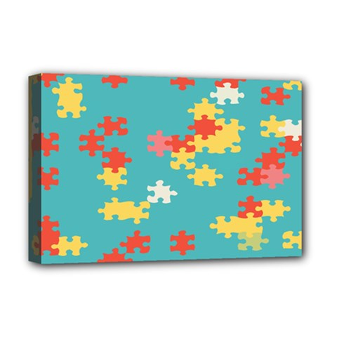 Puzzle Pieces Deluxe Canvas 18  X 12  (framed) by LalyLauraFLM