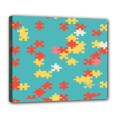 Puzzle Pieces Deluxe Canvas 24  X 20  (framed) by LalyLauraFLM