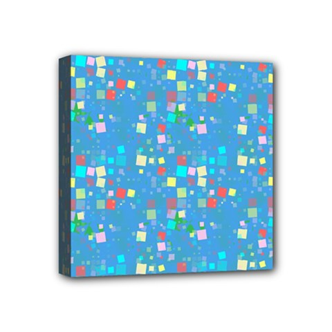 Colorful Squares Pattern Mini Canvas 4  X 4  (stretched) by LalyLauraFLM