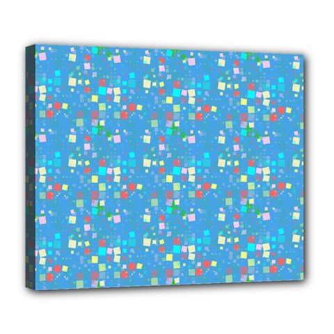 Colorful Squares Pattern Deluxe Canvas 24  X 20  (stretched) by LalyLauraFLM