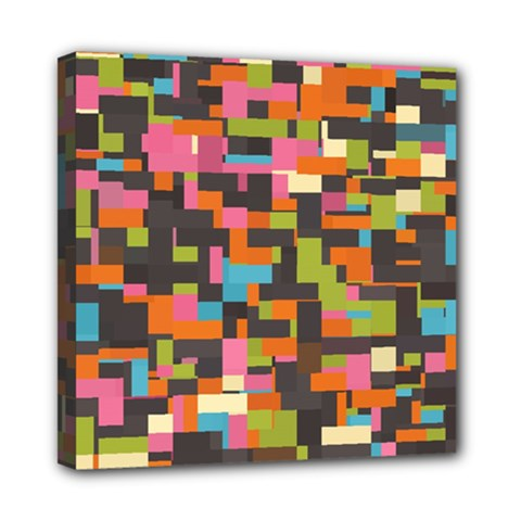 Colorful Pixels Mini Canvas 8  X 8  (stretched) by LalyLauraFLM