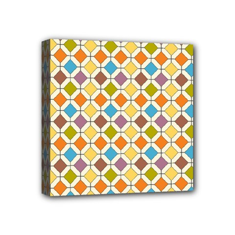 Colorful Rhombus Pattern Mini Canvas 4  X 4  (stretched) by LalyLauraFLM