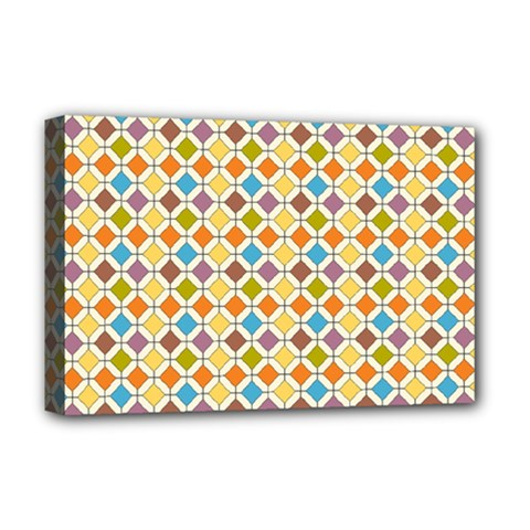Colorful Rhombus Pattern Deluxe Canvas 18  X 12  (stretched) by LalyLauraFLM