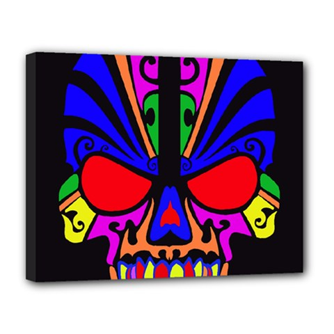Skull In Colour Canvas 14  X 11  (framed) by icarusismartdesigns