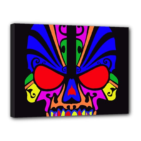 Skull In Colour Canvas 16  X 12  (framed) by icarusismartdesigns