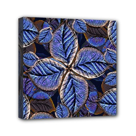 Fantasy Nature Pattern Print Mini Canvas 6  X 6  (framed)