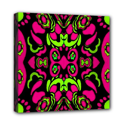 Psychedelic Retro Ornament Print Mini Canvas 8  X 8  (framed) by dflcprints