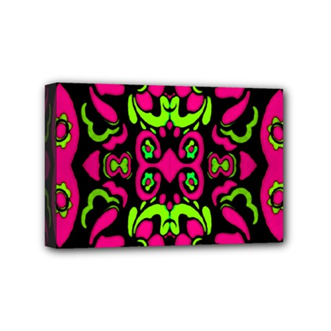 Psychedelic Retro Ornament Print Mini Canvas 6  X 4  (framed) by dflcprints