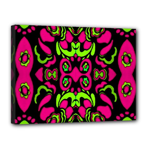 Psychedelic Retro Ornament Print Canvas 16  X 12  (framed) by dflcprints