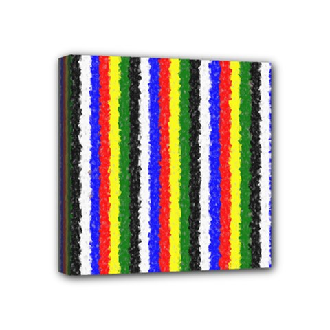 Basic Colors Curly Stripes Mini Canvas 4  X 4  (framed) by BestCustomGiftsForYou