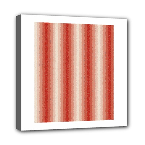 Red Curly Stripes Mini Canvas 8  X 8  (framed) by BestCustomGiftsForYou