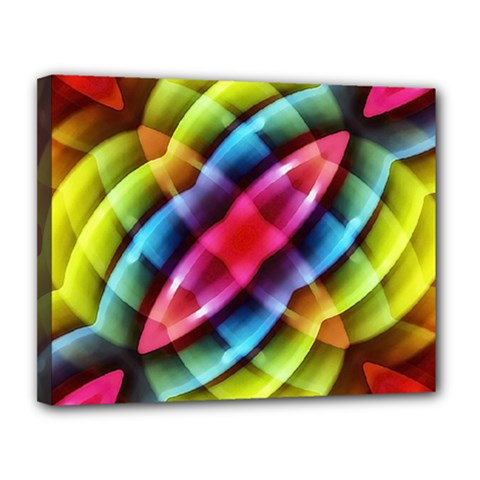 Multicolored Abstract Pattern Print Canvas 14  X 11  (framed) by dflcprints