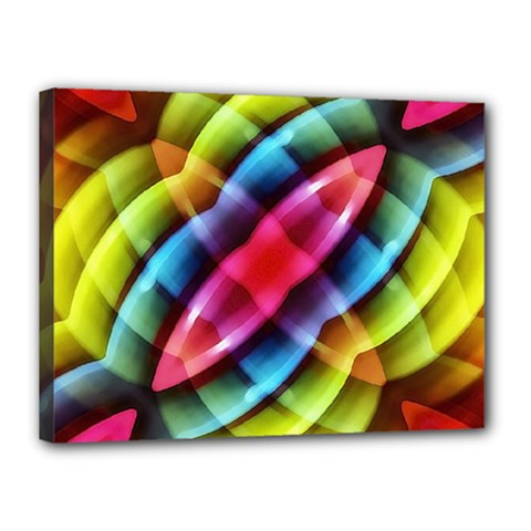 Multicolored Abstract Pattern Print Canvas 16  X 12  (framed)