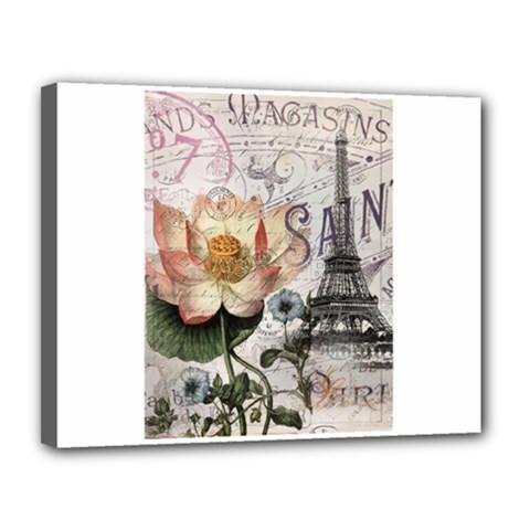 Vintage Paris Eiffel Tower Floral Canvas 14  X 11  (framed) by chicelegantboutique